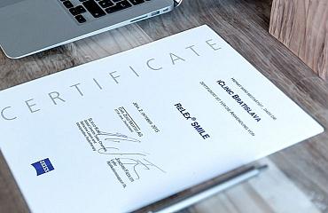 Certifikace od společnosti ZEISS na metodu Relex Smile